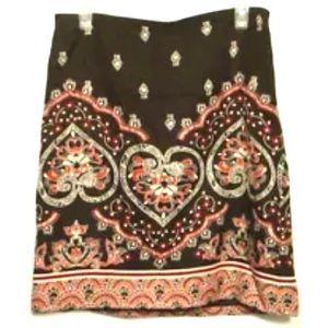 Ann Taylor Loft Brown Pink Paisley Skirt Size 6